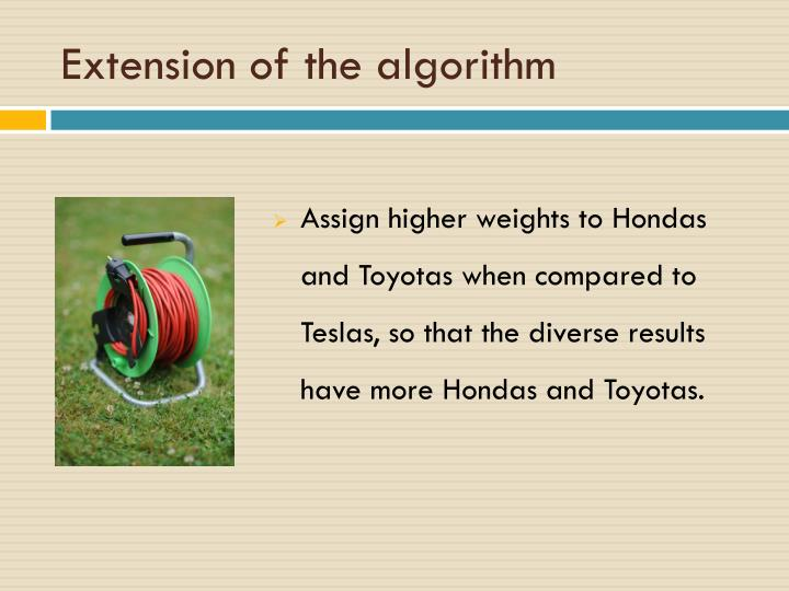 Extension of the algorithm