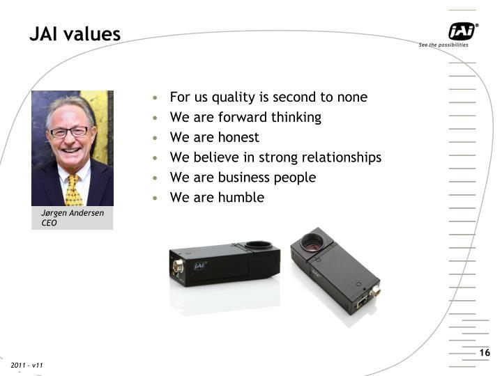 JAI values
