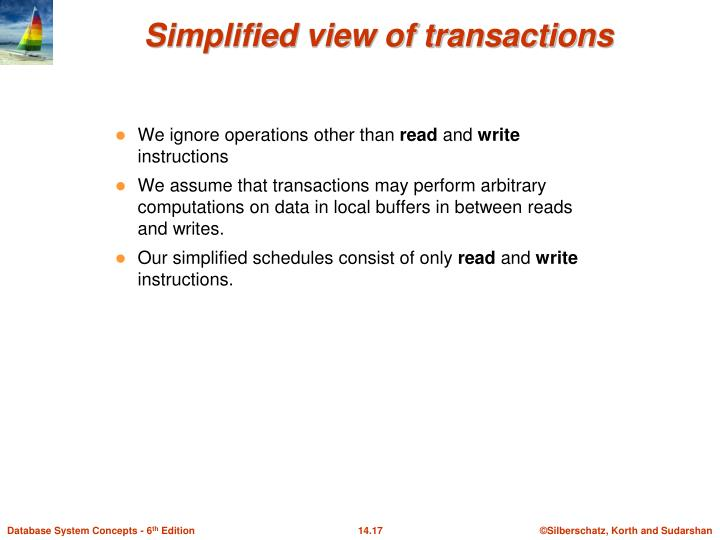 Simplified view of transactions