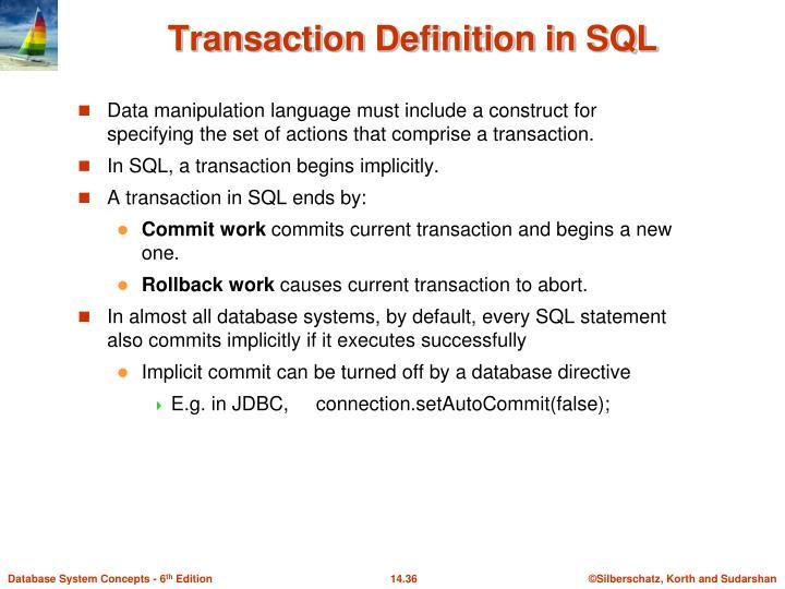 Transaction Definition in SQL