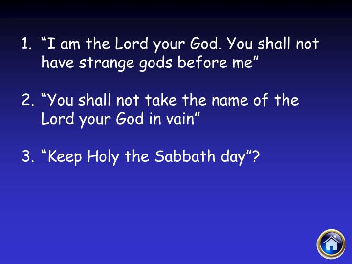 """""""I am the Lord your God. You shall not have strange gods before me"""""""