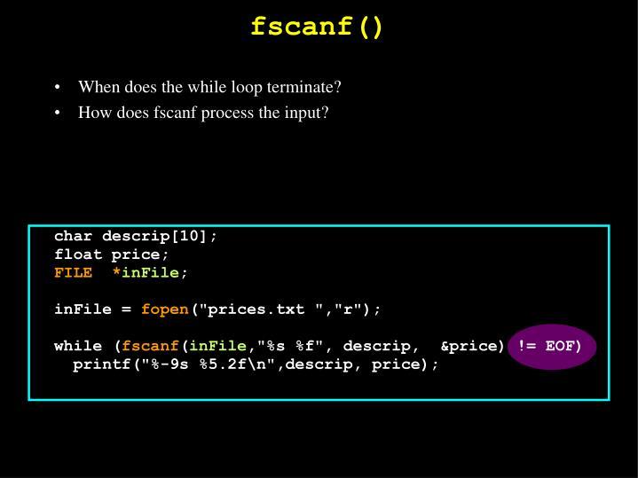 fscanf()