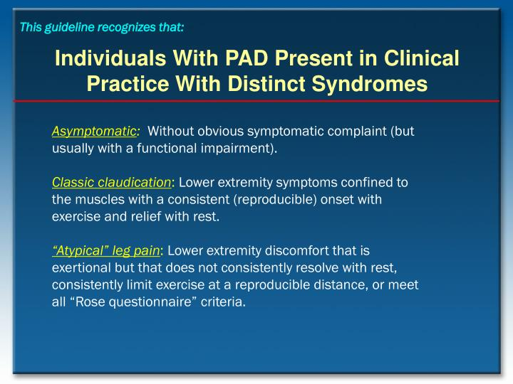 Individuals with pad present in clinical practice with distinct syndromes