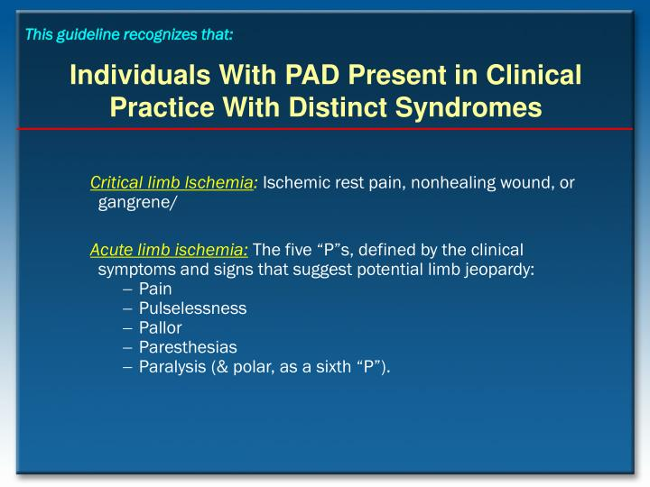 Individuals with pad present in clinical practice with distinct syndromes1