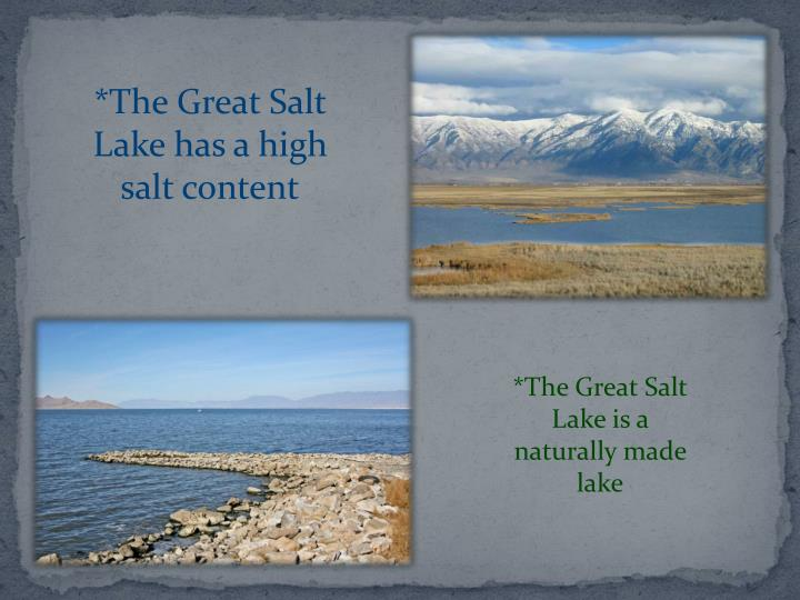 *The Great Salt Lake has a high salt content