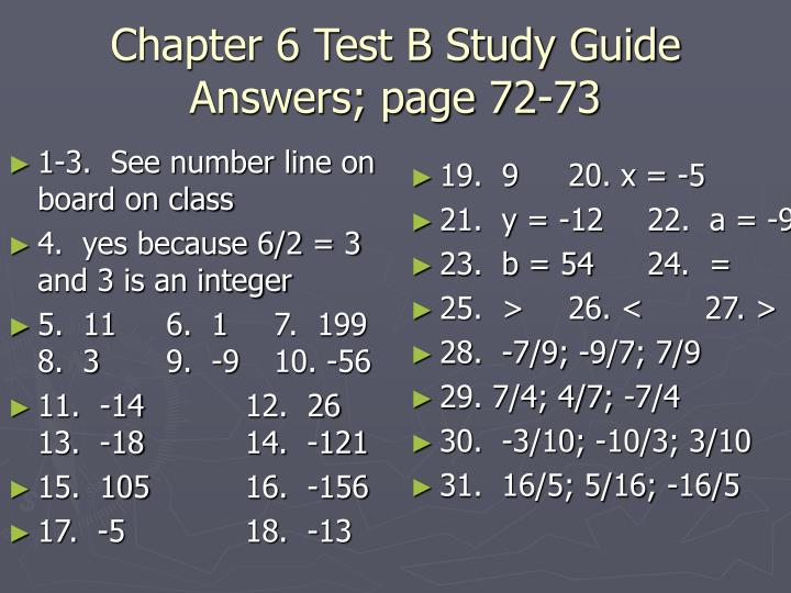 chapter 6 test b study guide answers page 72 73 n.