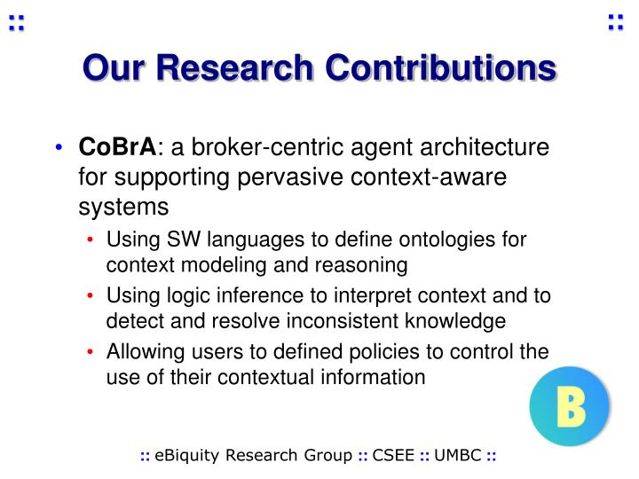 Our Research Contributions