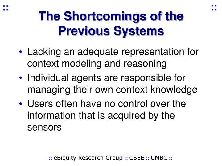 The Shortcomings of the Previous Systems