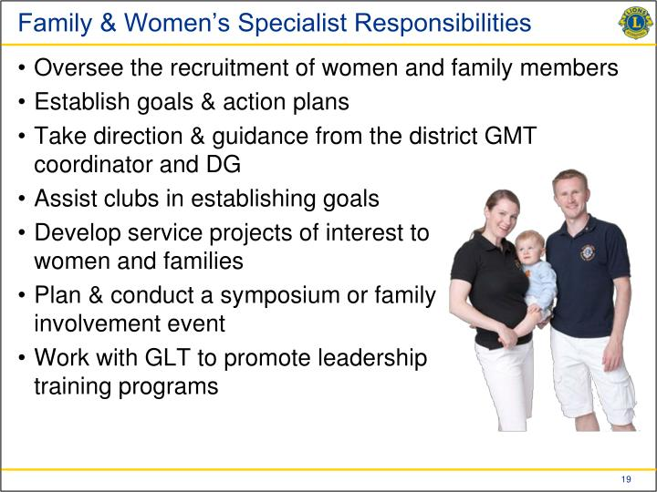 Family & Women's Specialist Responsibilities