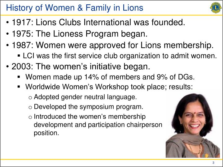 History of women family in lions1