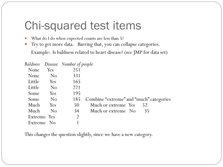 Chi-squared test items
