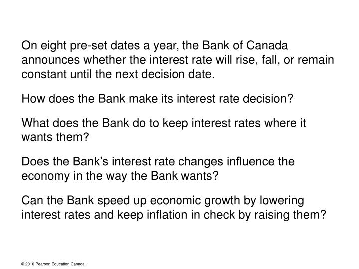 On eight pre-set dates a year, the Bank of Canada announces whether the interest rate will rise, fal...