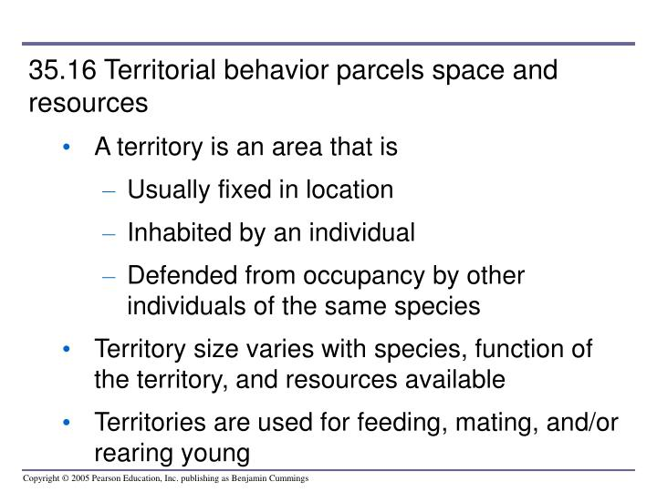35.16 Territorial behavior parcels space and resources