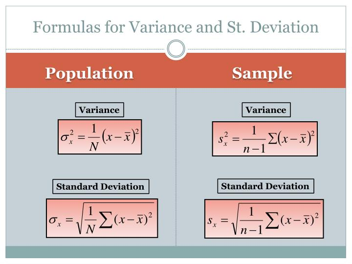 Formulas for Variance and St. Deviation