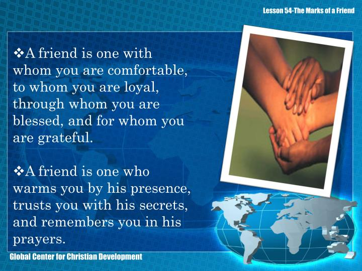 Lesson 54-The Marks of a Friend