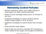 maintaining cerebral perfusion