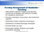 nursing management of headache teaching