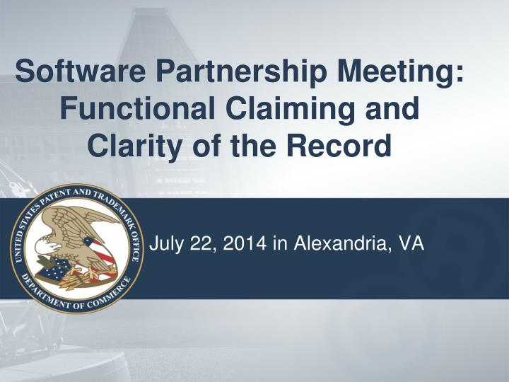 software partnership meeting functional claiming and clarity of the record n.