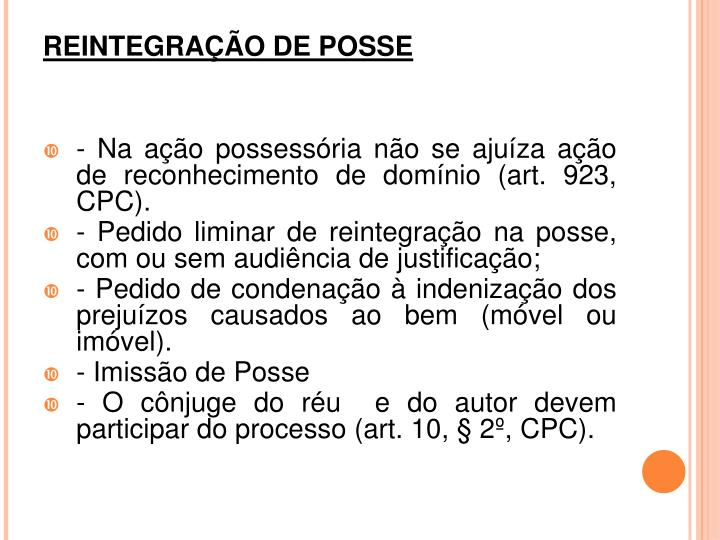 REINTEGRAÇÃO DE POSSE