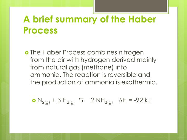 A brief summary of the Haber Process