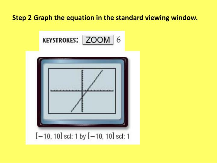 Step 2 Graph the equation in the standard viewing window.