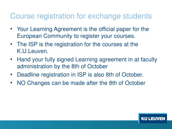 Course registration for exchange