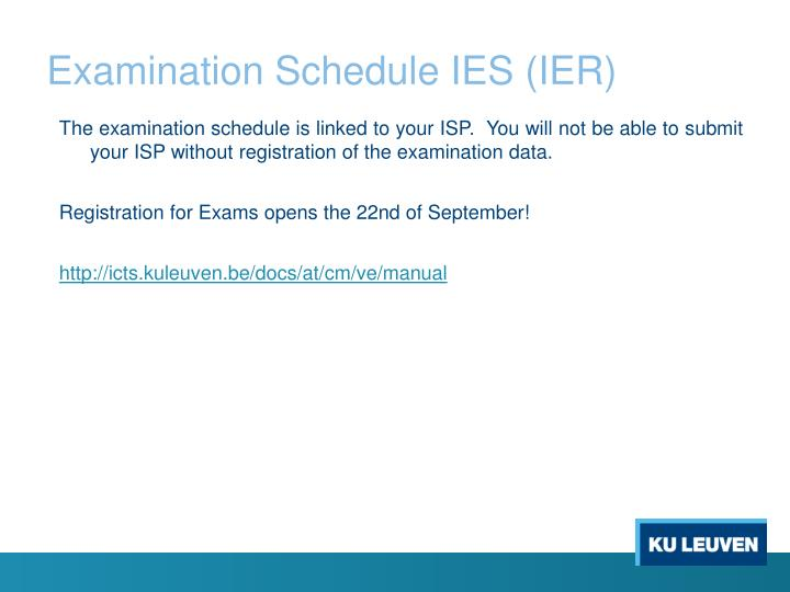 Examination Schedule IES (IER)