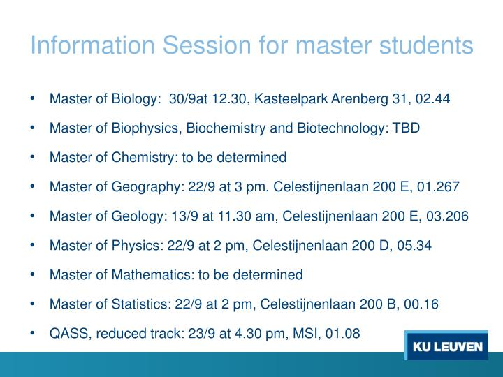 Information Session for master students