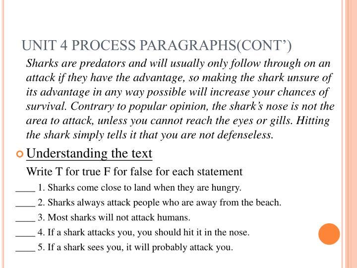 Unit 4 process paragraphs cont
