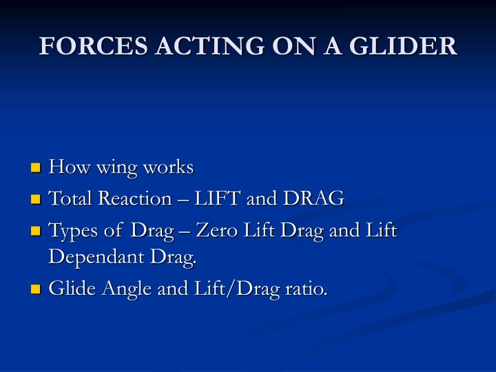 FORCES ACTING ON A GLIDER