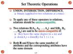 set theoretic operations