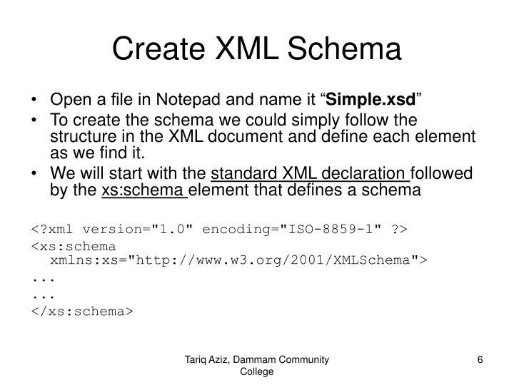 Create XML Schema