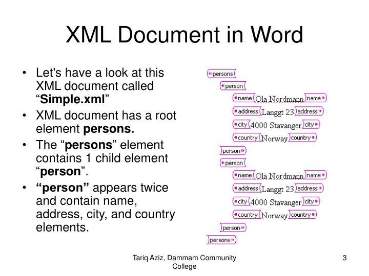 Xml document in word