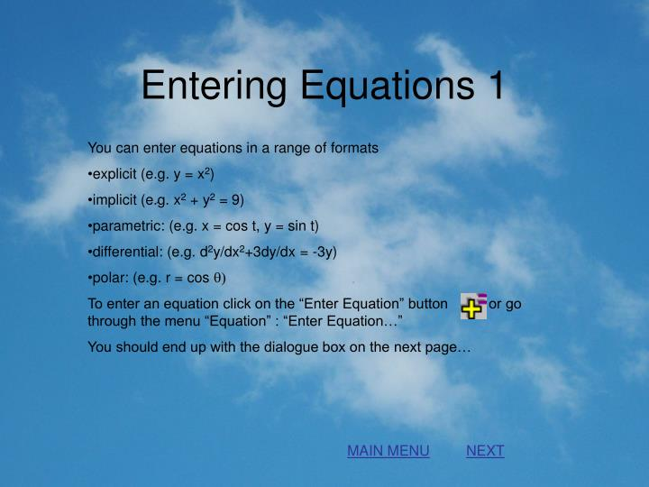 Entering equations 1