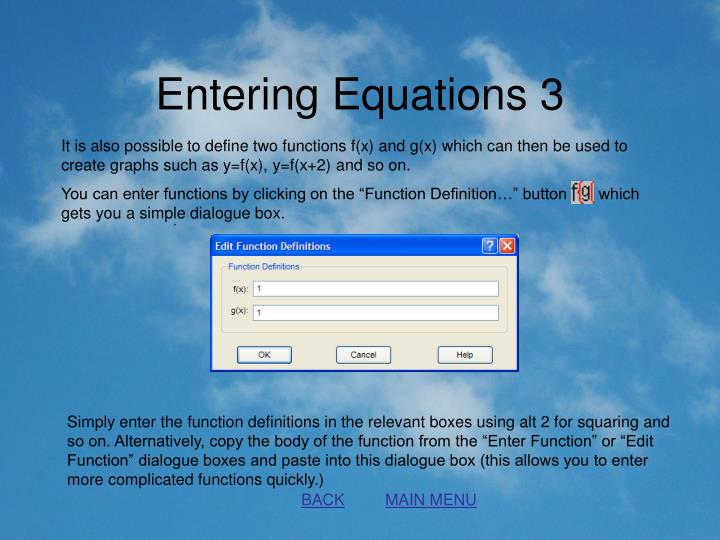 Entering Equations 3