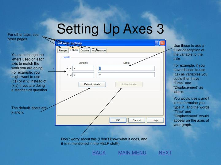Setting Up Axes 3