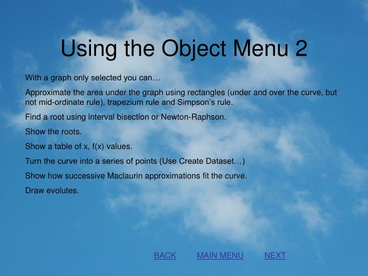 Using the Object Menu 2