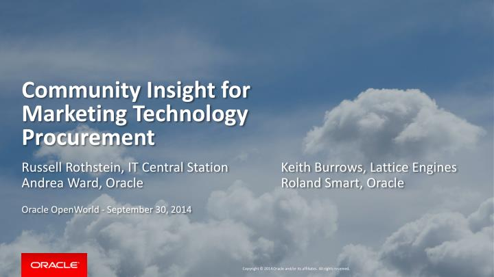 community insight for marketing technology procurement n.