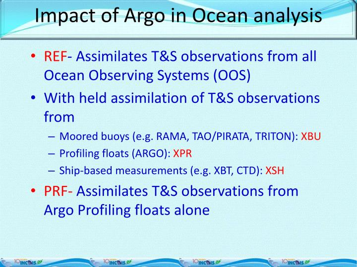 Impact of Argo in Ocean analysis