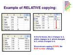 example of relative copying