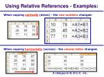 using relative references examples