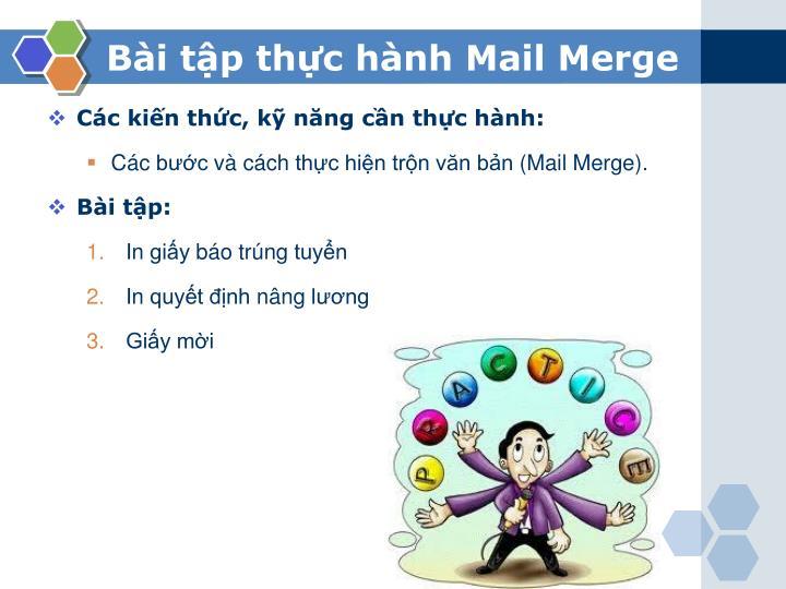 Bài tập thực hành Mail Merge
