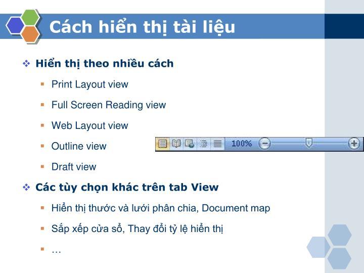 Cách hiển thị tài liệu