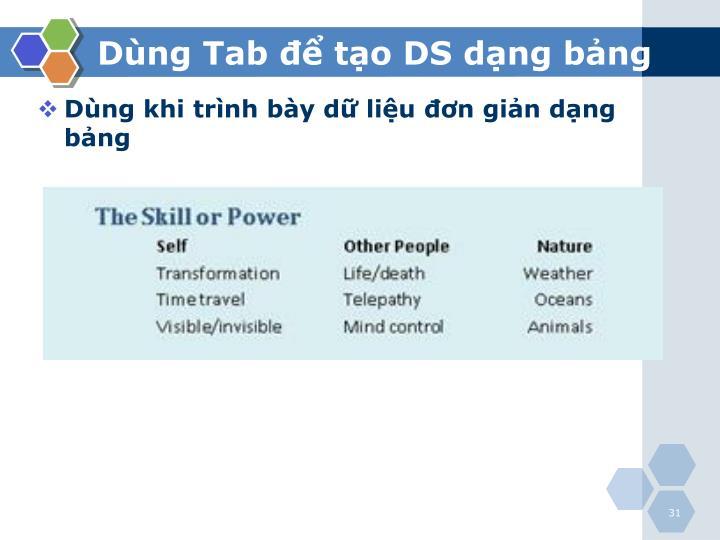 Dùng Tab để tạo DS dạng bảng