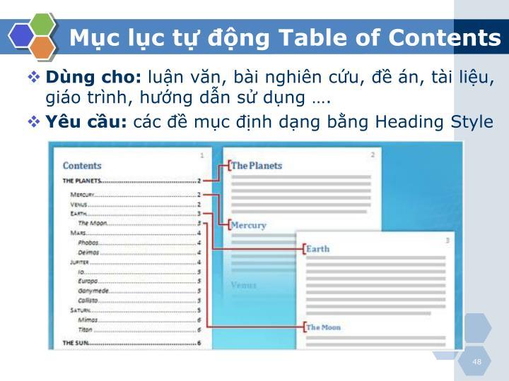 Mục lục tự động Table of Contents