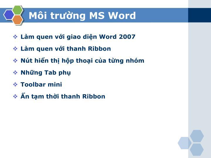 Môi trường MS Word