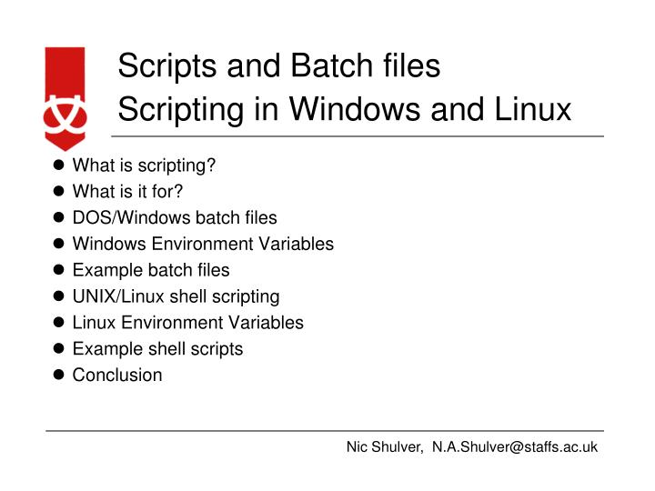 PPT - Scripting in Windows and Linux PowerPoint Presentation