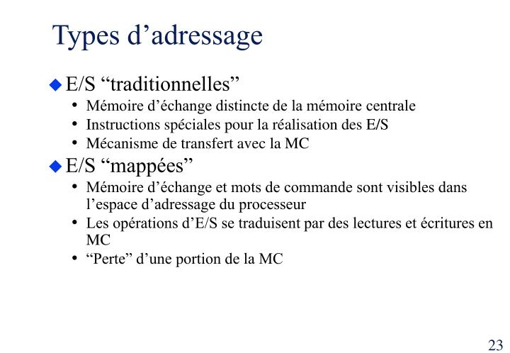 Types d'adressage