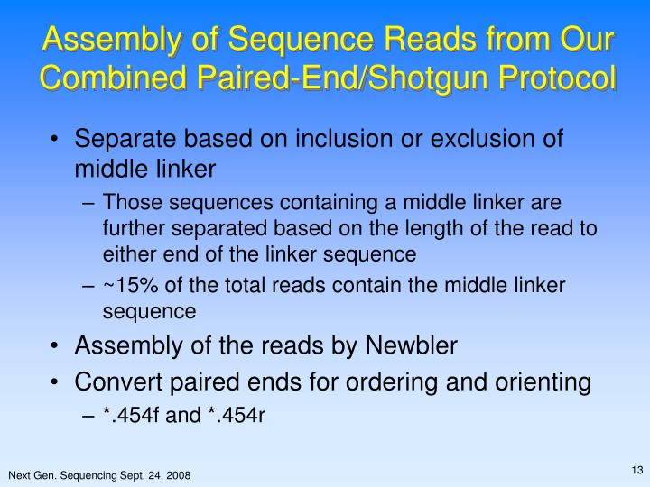 Assembly of Sequence Reads from Our Combined Paired-End/Shotgun Protocol