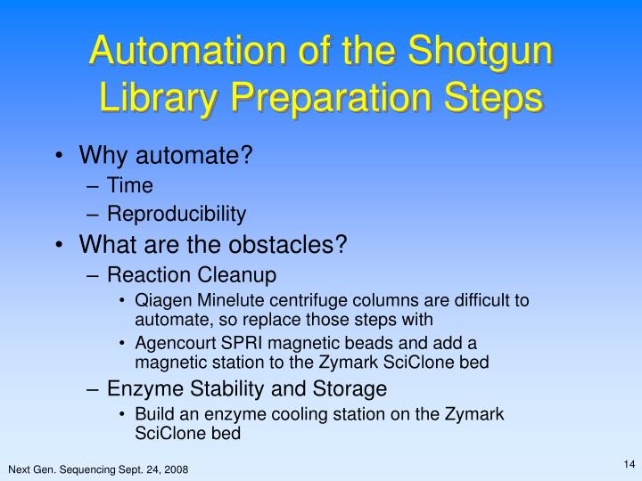 Automation of the Shotgun Library Preparation Steps